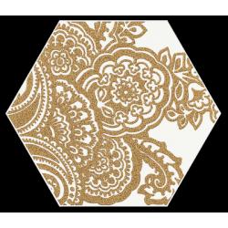 Shiny Lines Gold Heksagon Inserto B 19.8 x 17.1  dekoratyvinė plytelė